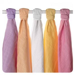 Set 5 museline din bumbac organic 70x70cm Old Times  Girls Pastels XKKO